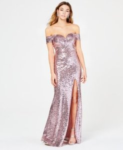 Juniors' Off-The-Shoulder Sequined Gown