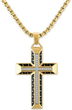 """Diamond Cross 22"""" Pendant Necklace in Gold Tone Ion-Plated Stainless Steel & Black Carbon Fiber, Created For Macy's"""