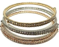 Crystal Single Wrap Bracelets, Set of 3