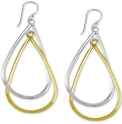 Double Teardrop Drop Earrings in Silver- & Gold-Plate