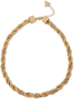 "Two-Tone Crystal Cold As Ice Rope Collar Necklace, 16"" + 2"" extender"