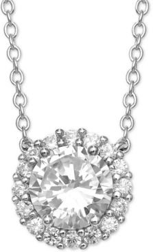 """Cubic Zirconia Halo 18"""" Pendant Necklace in Sterling Silver, Created For Macy's"""