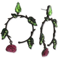 Hematite-Tone Pave Leaf & Glitter Rose Drop Hoop Earrings