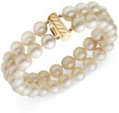Cultured Freshwater Pearl Two-Row Bracelet in 14k Gold (8-1/2mm)