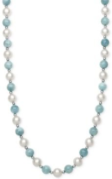 Milky Aquamarine (7mm) and Cultured Freshwater Pearl (7-1/2mm) Strand Collar Necklace