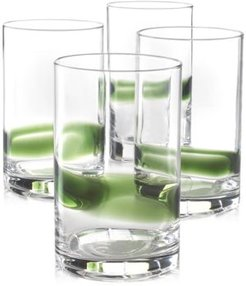 Closeout! Hotel Collection Green Striped Set of 4 Tumbler Glasses, Created for Macy's