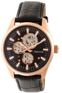 Automatic Stanley Rose Gold & Black Leather Watches 43mm