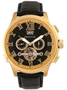 Automatic Hudson Gold & Black Leather Watches 47mm