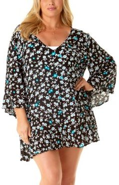 Plus Size Beautiful Bunches Printed Bell-Sleeve Cover-Up Tunic Women's Swimsuit