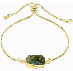 Gold Plated Pull Chain Bracelet with Crescent Moon Electroform Labradorite Stone
