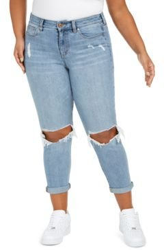 Plus Size Girlfriend Ripped Ankle Jeans