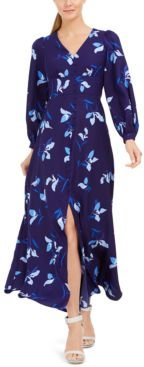 Printed Button-Front Maxi Dress