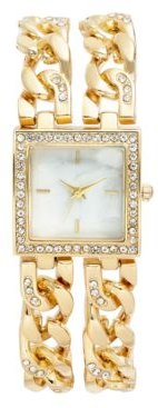 Crystal Gold-Tone Double Chain Bracelet Watch 27mm, Created For Macy's