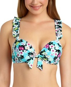 Juniors' Floral Ruffle Underwire Push-Up Bikini Top, Available in D/Dd, Created For Macy's Women's Swimsuit