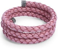 Pink Braided Leather Wrap Bracelet in Sterling Silver