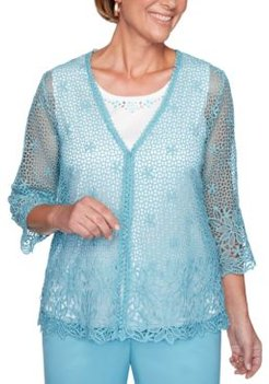 Chesapeake Bay Crochet-Lace 2-For-1 Sweater