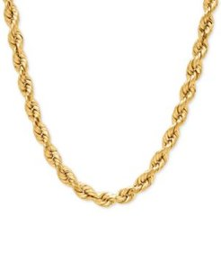 """Rope Chain 30"""" Necklace (4mm) in 14k Gold"""
