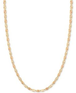 """16"""" Tri-Color Valentina Chain Necklace (1/5mm) in 14k Gold, White Gold & Rose Gold"""