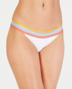 Juniors' Three Stripes You're Out Hipster Bottoms, Created for Macy's Women's Swimsuit