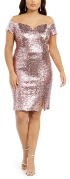 Trendy Plus Size Off-The-Shoulder Sequined Bodycon Dress