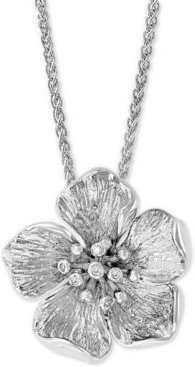 """Effy Diamond Accent Flower 18"""" Pendant Necklace in Sterling Silver"""