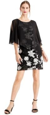 Embroidered Chiffon-Capelet Dress