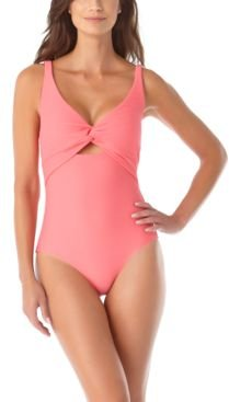 Textured Twist-Front One-Piece Swimsuit Women's Swimsuit