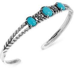 Turquoise Openwork Cuff Bracelet in Sterling Silver