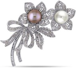 South Sea, Pink Cultured Freshwater Pearl and Brown and White Diamond (2 ct.t.w.) Floral Bouquet Brooch in 18k White Gold