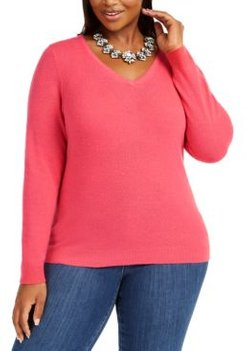 Plus Size V-Neck Cashmere Sweater, Created For Macy's
