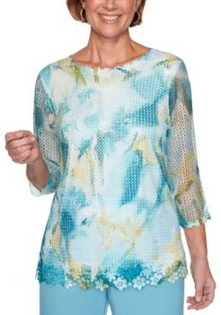 Chesapeake Bay Abstract Floral-Trim Mesh Top