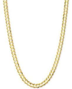 """24"""" Open Curb Link Chain Necklace (3-3/5mm) in Solid 14k Gold"""
