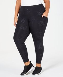 Plus Size Tonal Floral-Print Ankle Leggings, Created for Macy's