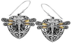 Sweet Dragonfly Love Potion Sterling Silver Earrings Embellished by 18K Gold Accents on 4 Strips of Dragonfly's Wings