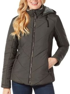 Quilted Jacket With Lined Hood
