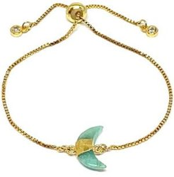 Gold Plated Pull Chain Bracelet with Crescent Moon Electroform Amazonite Stone
