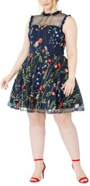 Trendy Plus Size Floral-Embroidered Dress