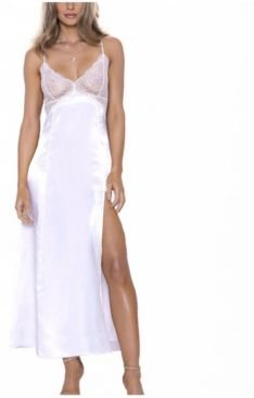 iCollection- Julia Satin- Duchess Style Lace Trim Gown