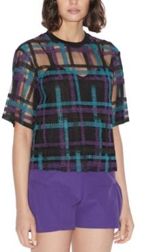Embroidered Tulle Overlay Top