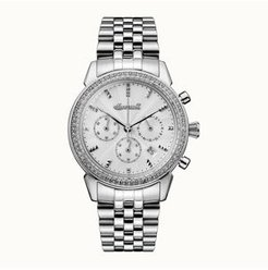 Gem Chronograph with Stainless Steel Case and Link Bracelet, Silver Dial and Crystals On The Bezel