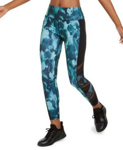 Abstract Camo Mesh-Trimmed Leggings, Created for Macy's
