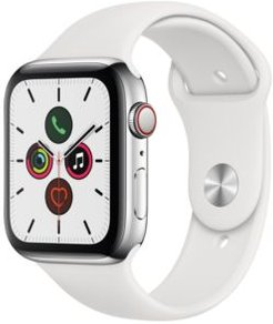 Gps + Cellular, 44mm Stainless Steel Case with White Sport Band