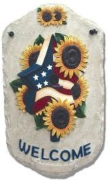 """Welcome Sign, Sunflower Birdhouse Porch Decor, Resin Slate Plaque, Ready to hang Decor, 13"""" x 7.75"""""""
