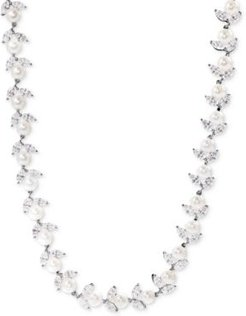 Cultured Freshwater Pearl (6mm) and Swarovski Zirconia Collar Necklace in Sterling Silver