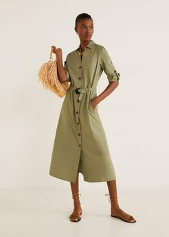 Belt shirt dress khaki - 6 - Women