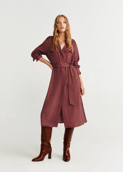 Printed shirt dress red - 10 - Women