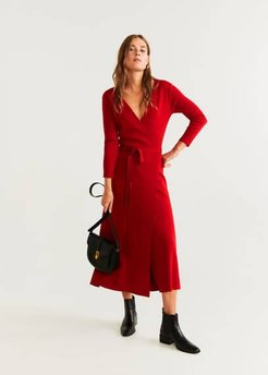 Wrap knitted dress red - 6 - Women