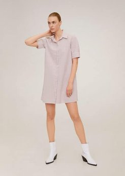 Cotton shirt dress wine - 6 - Women