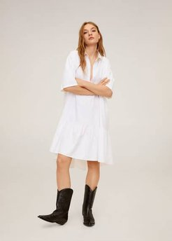 Ruffled shirt dress white - XXS-XS - Women