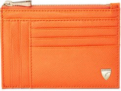 Double Sided Zipped Card Coin Holder Bright orange saffiano